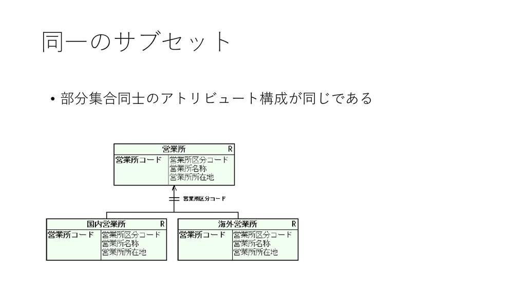 同一のサブセット • 部分集合同士のアトリビュート構成が同じである