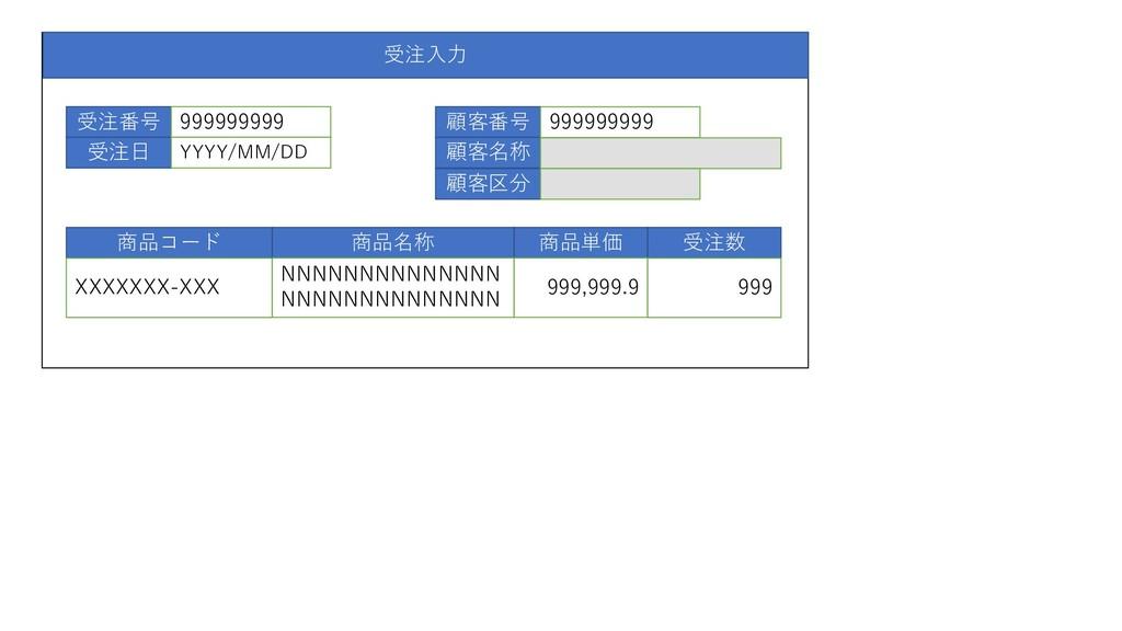 受注入力 受注番号 受注日 999999999 YYYY/MM/DD 顧客番号 顧客名称 顧客...
