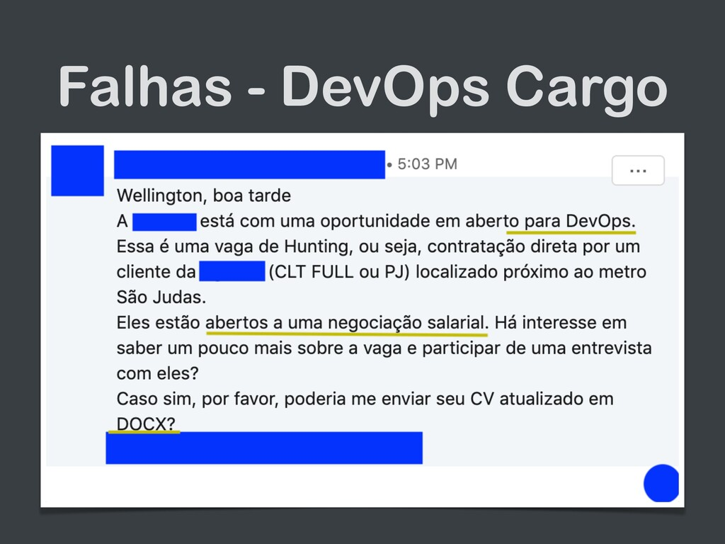 Falhas - DevOps Cargo • Time onde os integrantes