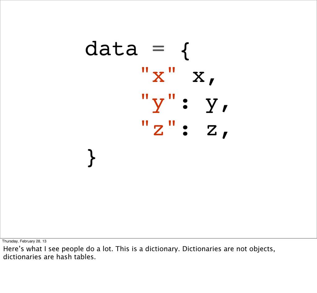 """data = { """"x"""" x, """"y"""": y, """"z"""": z, } Thursday, Feb..."""