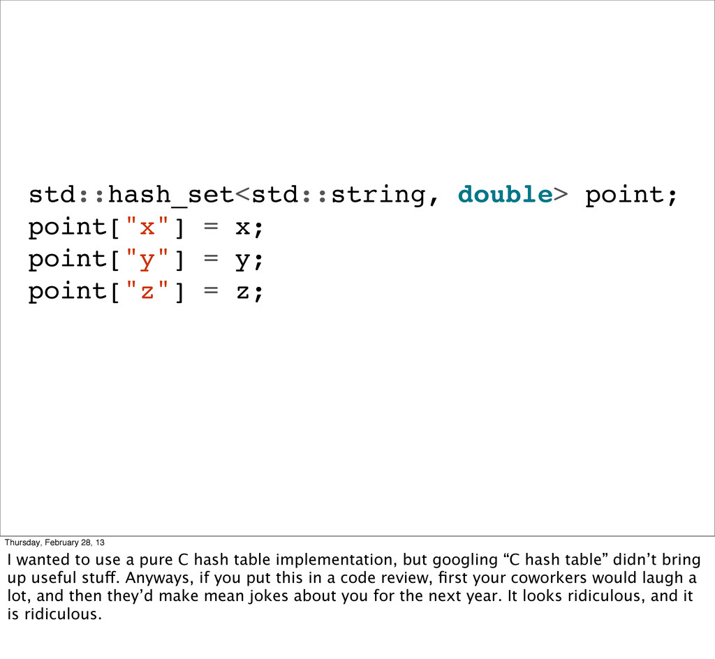 std::hash_set<std::string, double> point; point...