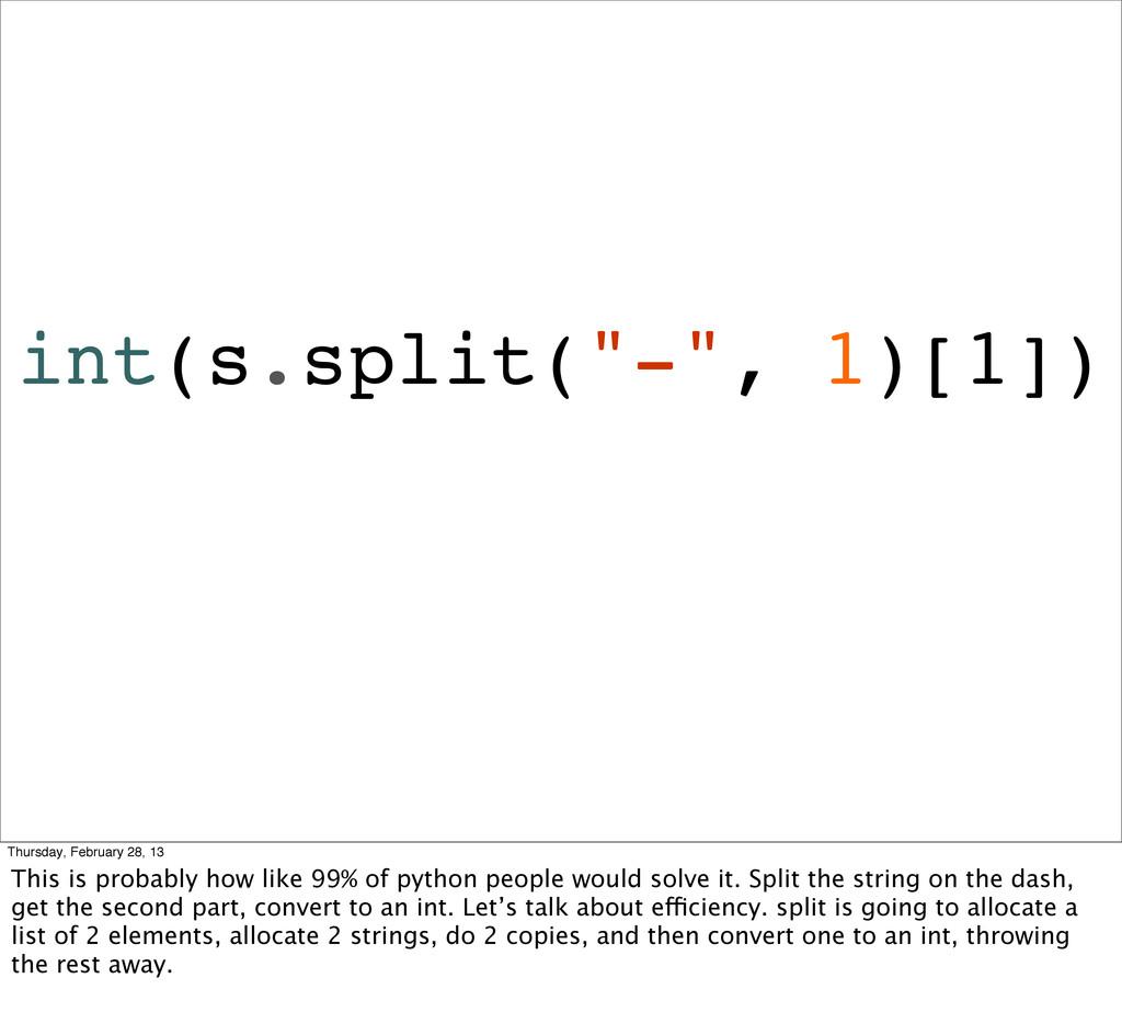 """int(s.split(""""-"""", 1)[1]) Thursday, February 28, ..."""