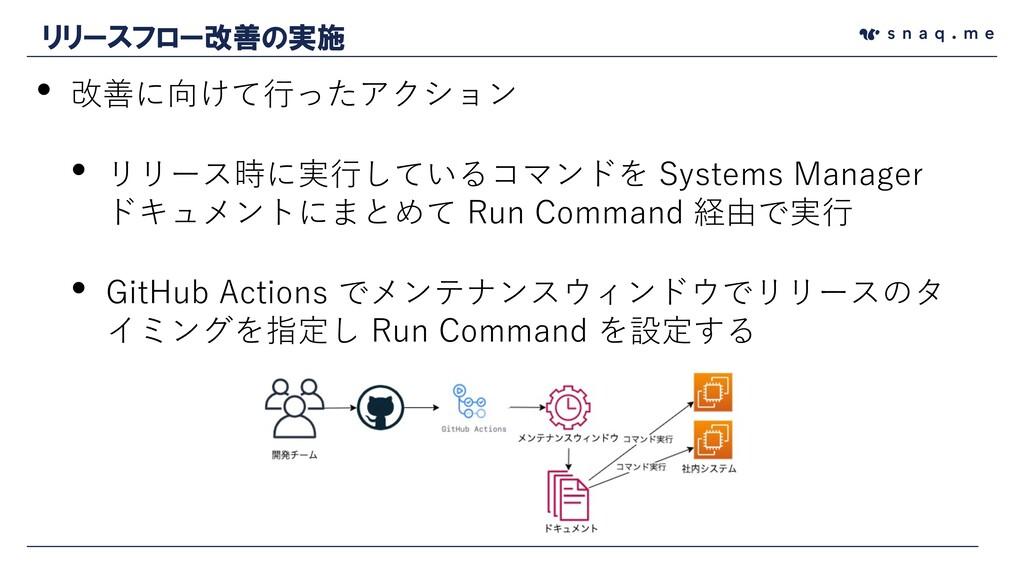• 改善に向けて⾏ったアクション • リリース時に実⾏しているコマンドを Systems Ma...