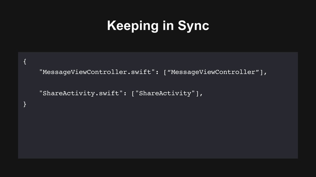 """Keeping in Sync { """"MessageViewController.swift""""..."""