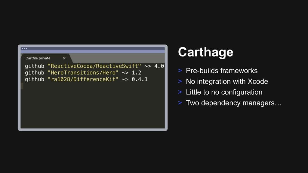Ƃ Carthage > Pre-builds frameworks > No integra...