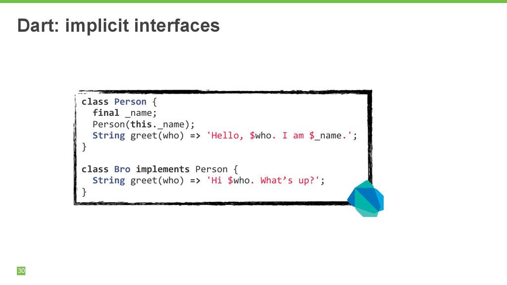30 Dart: implicit interfaces class Person ...