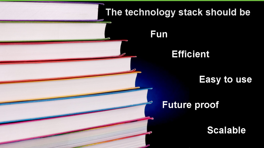 4 The technology stack should be Fun Easy to us...