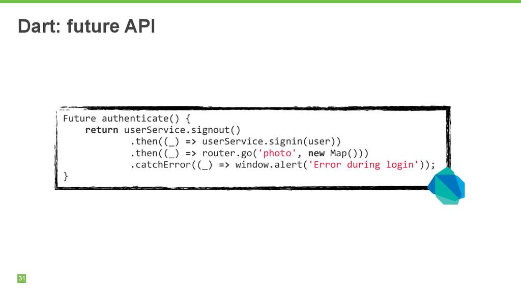 31 Dart: future API Future authenticate() ...