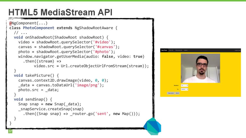 37 HTML5 MediaStream API @NgComponent(...)  ...