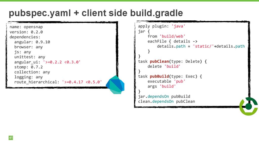 41 pubspec.yaml + client side build.gradle name...