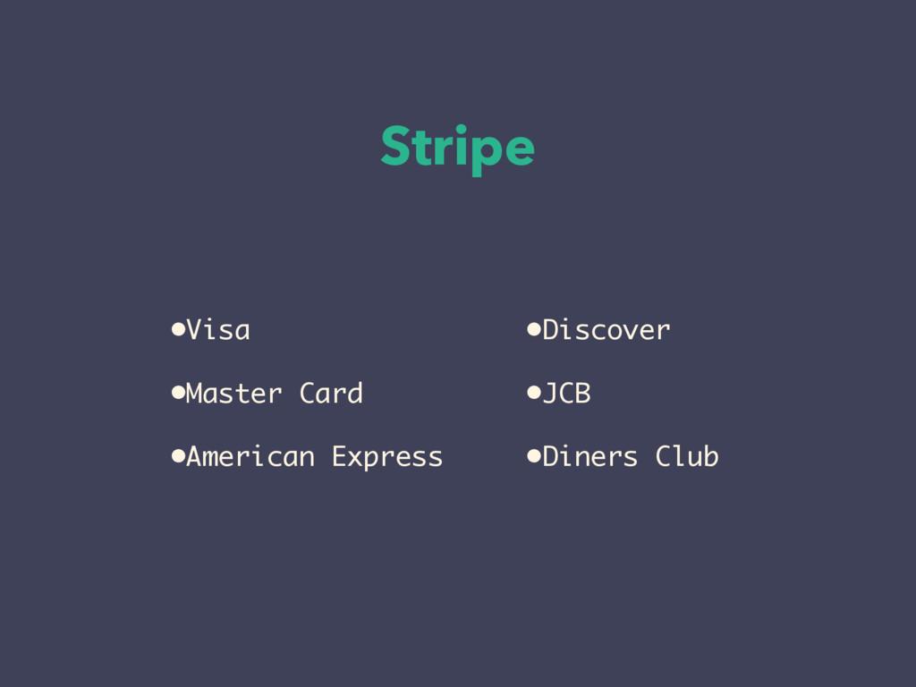 Stripe •Discover •JCB •Diners Club •Visa •Maste...