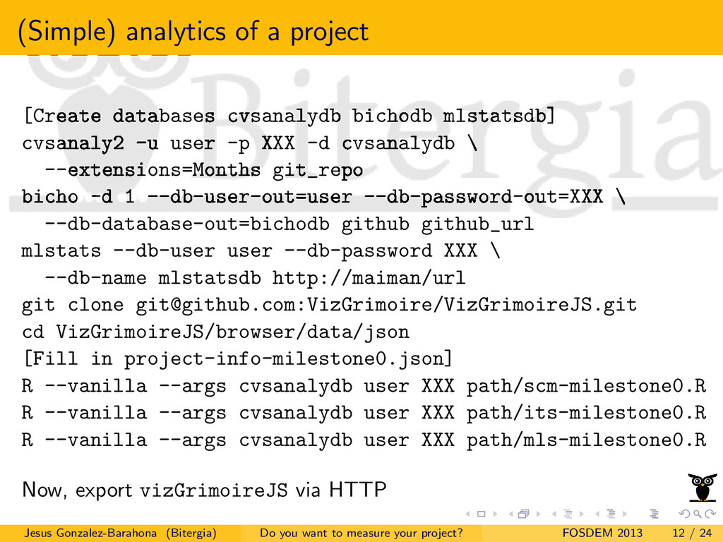 (Simple) analytics of a project [Create databas...