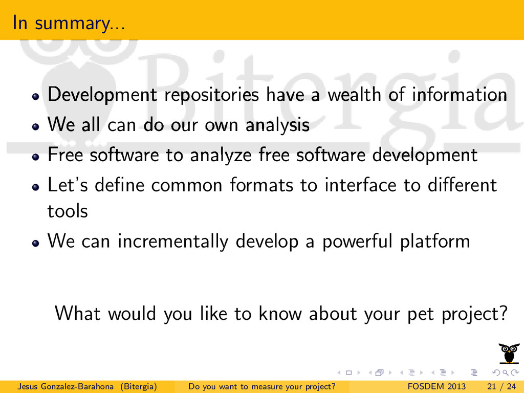 In summary... Development repositories have a w...
