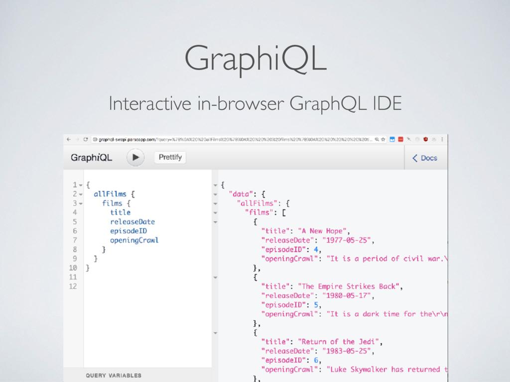 GraphiQL Interactive in-browser GraphQL IDE
