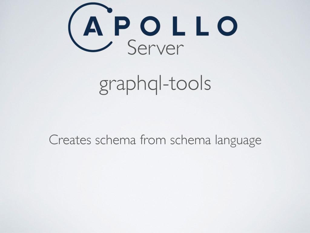 Server graphql-tools Creates schema from schema...