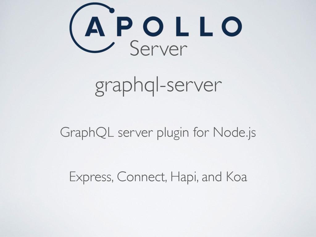 Server graphql-server GraphQL server plugin for...