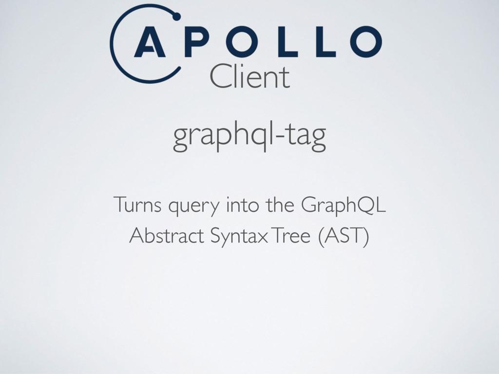 Client graphql-tag Turns query into the GraphQL...