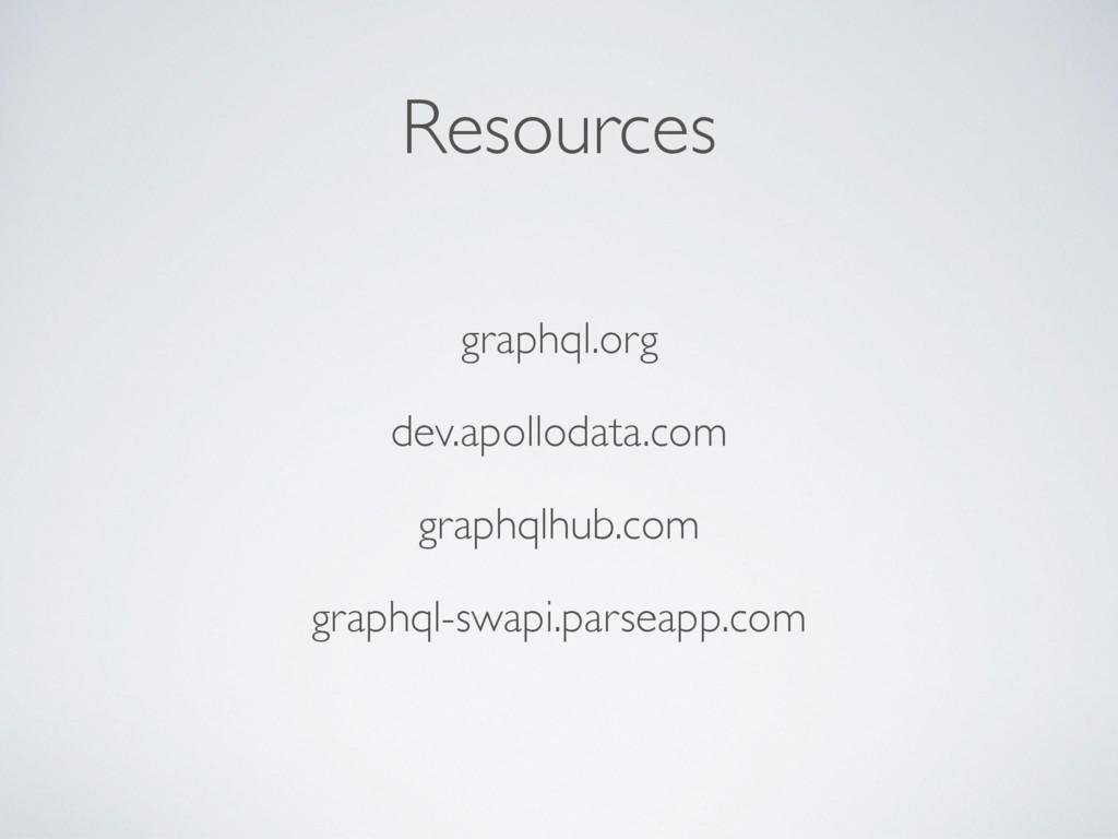 Resources graphql.org dev.apollodata.com graphq...
