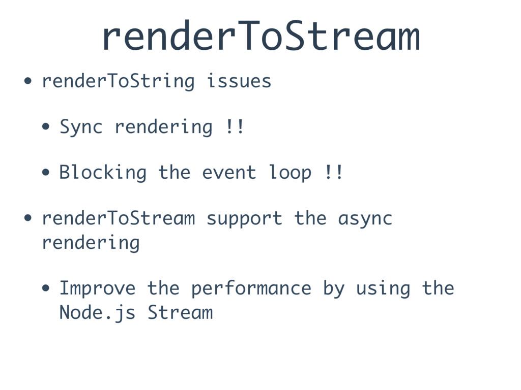renderToStream • renderToString issues • Sync r...