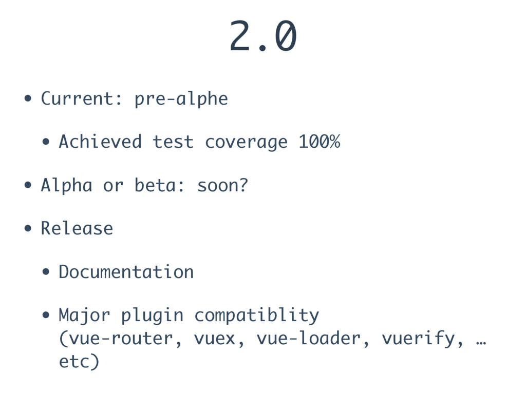 2.0 • Current: pre-alphe • Achieved test covera...