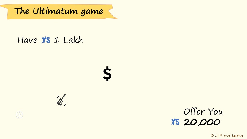 © Jeff and Lubna The Ultimatum game $ Have 1 La...