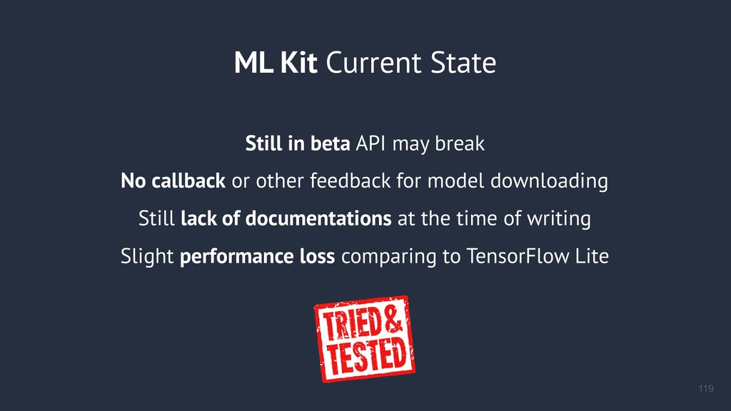 ML Kit Current State Still in beta API may brea...
