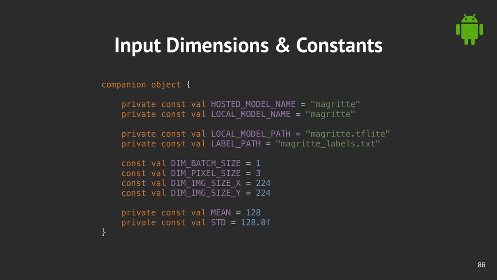 !86 Input Dimensions & Constants companion obje...