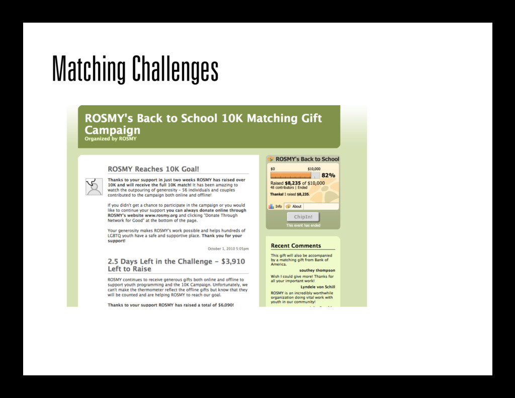 Matching Challenges