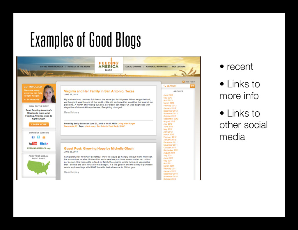 Examples of Good Blogs • recent • Links to m...