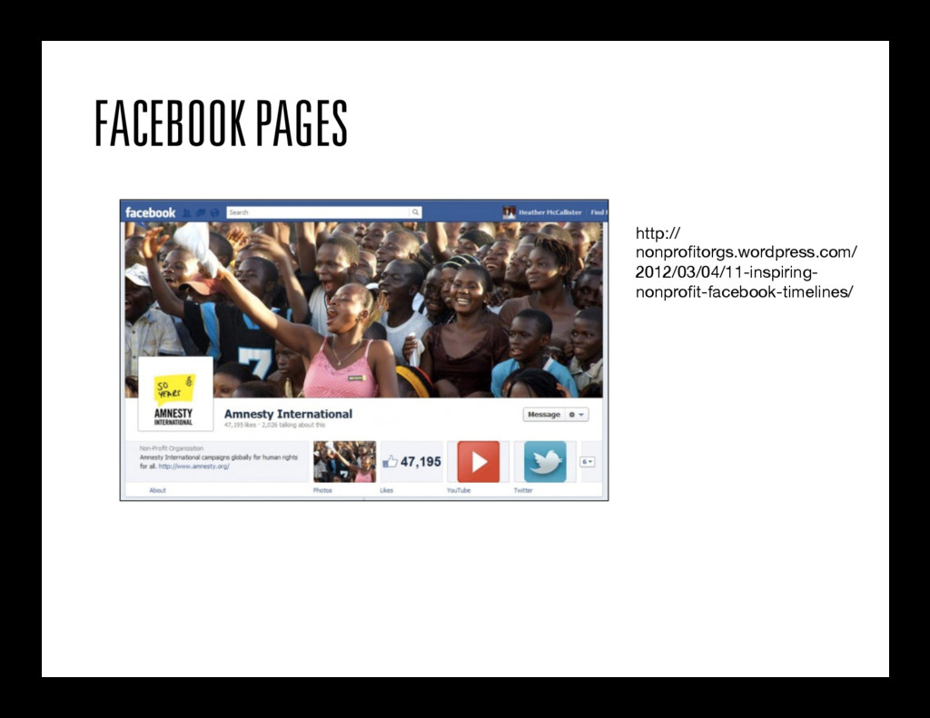 FACEBOOK PAGES http:// nonprofitorgs.wordpress.c...