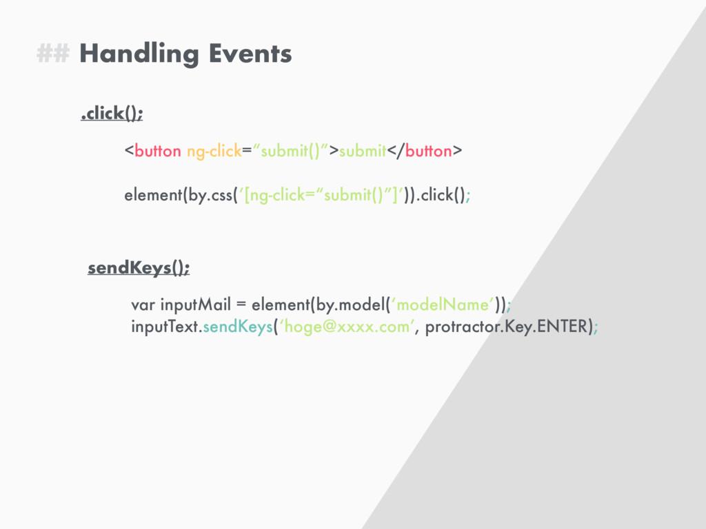 "## Handling Events .click(); <button ng-click=""..."