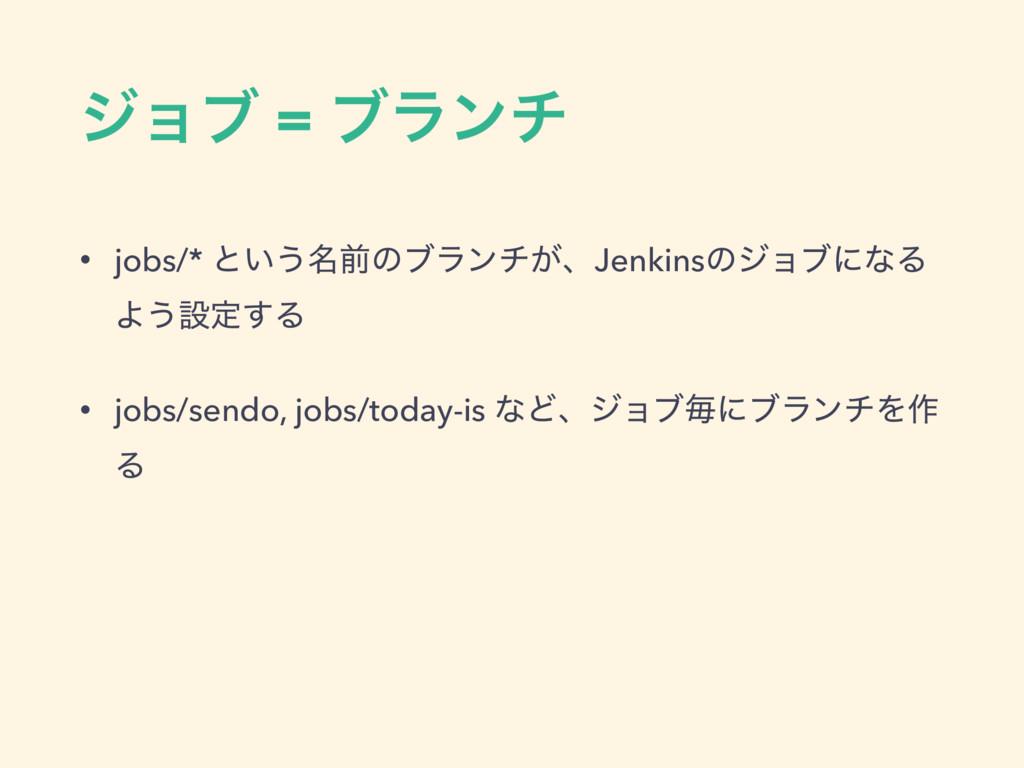 δϣϒ = ϒϥϯν • jobs/* ͱ͍͏໊લͷϒϥϯν͕ɺJenkinsͷδϣϒʹͳΔ ...