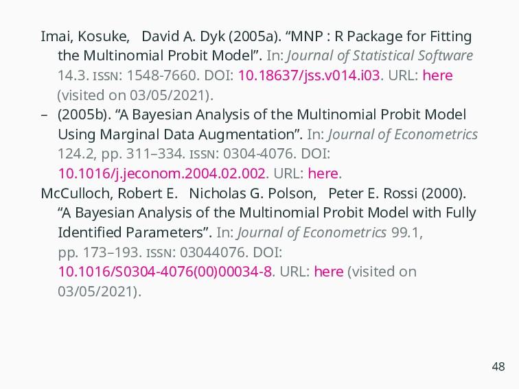 """Imai, Kosuke, David A. Dyk (2005a). """"MNP : R Pa..."""