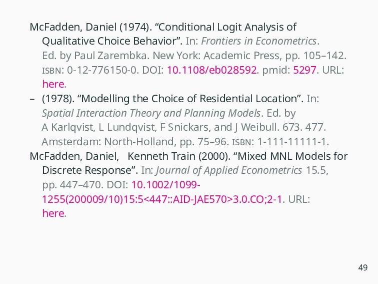 """McFadden, Daniel (1974). """"Conditional Logit Ana..."""