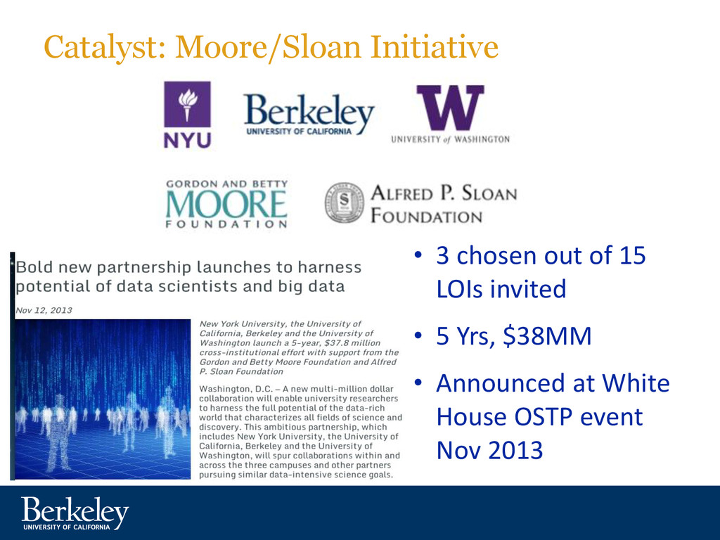 Catalyst: Moore/Sloan Initiative • 3 chosen out...