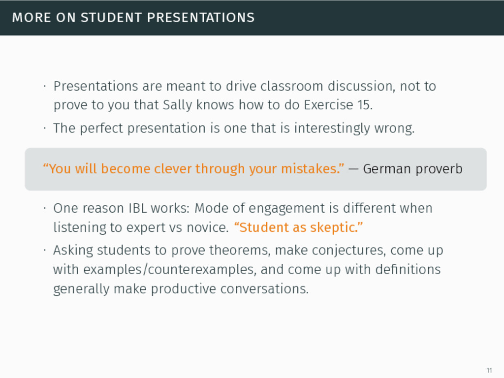 more on student presentations ∙ Presentations a...