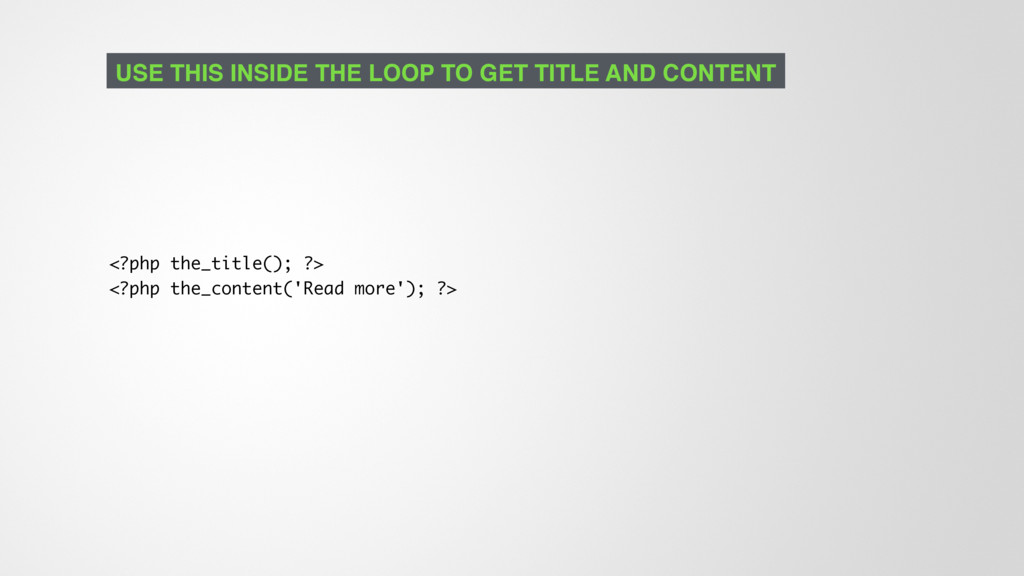 <?php the_title(); ?> <?php the_content('Read m...