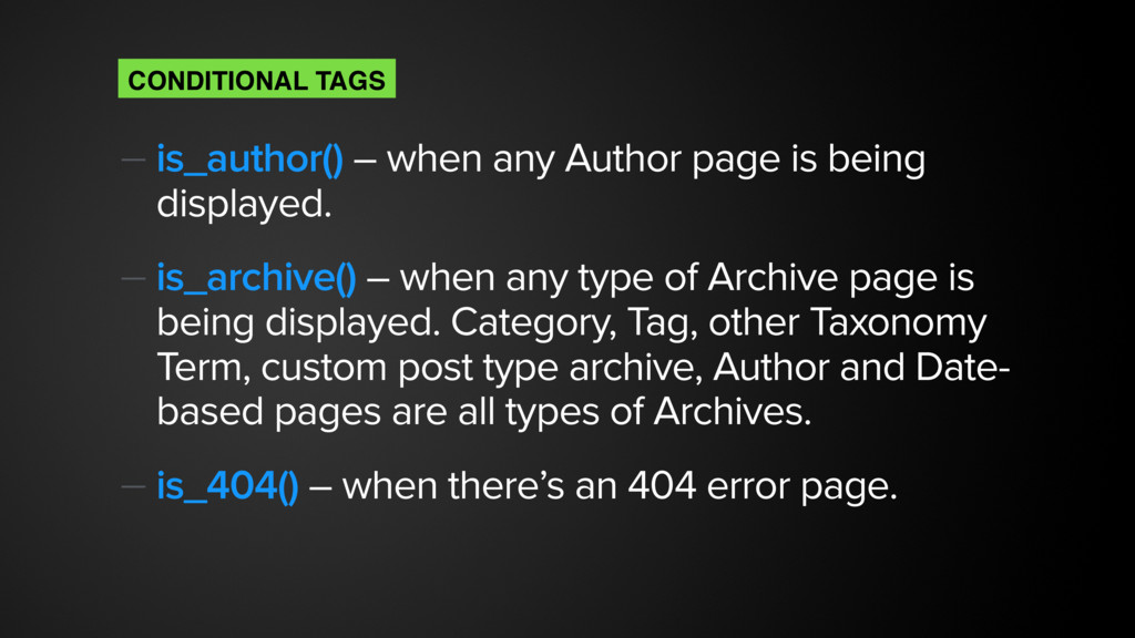 — is_author() – when any Author page is being d...