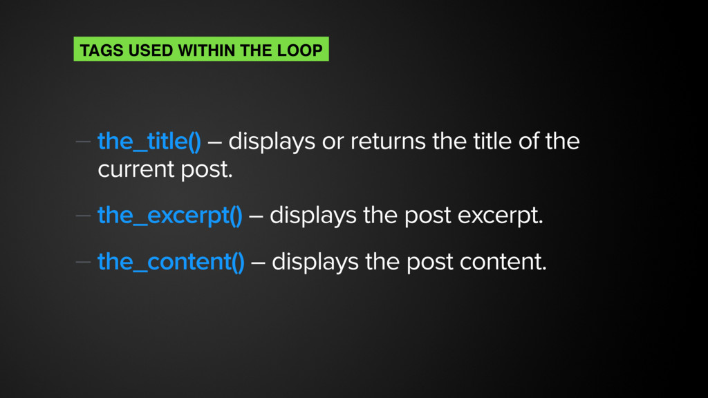 — the_title() – displays or returns the title o...