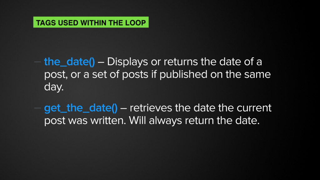 — the_date() – Displays or returns the date of ...
