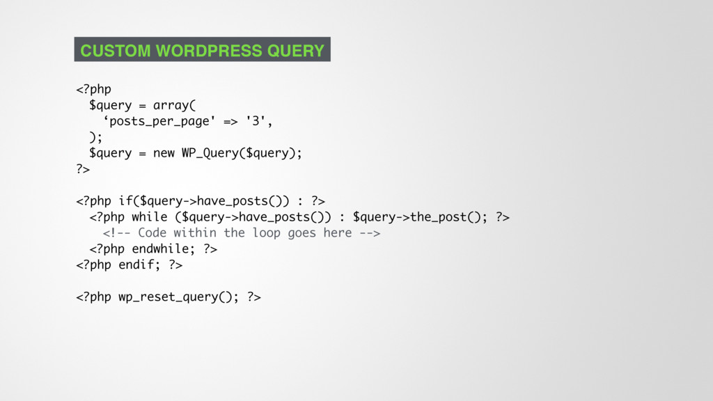 <?php $query = array( 'posts_per_page' => '3', ...