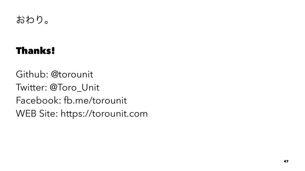 ͓ΘΓɻ Thanks! Github: @torounit Twitter: @Toro_U...
