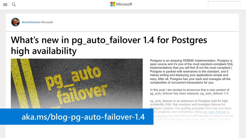 What's new in pg_auto_failover 1.4 for Postgres...