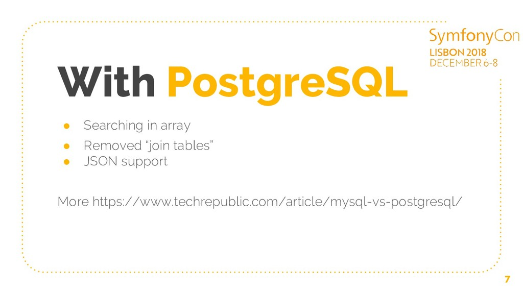 With PostgreSQL ● Searching in array ● Removed ...