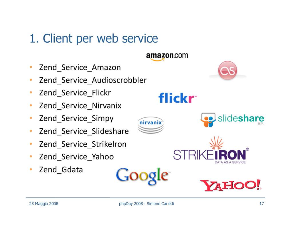 1. Client per web service • Zend_Service_Amazo...