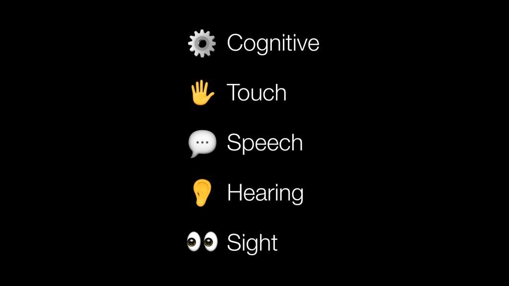 Cognitive Touch Speech Hearing Sight     ⚙