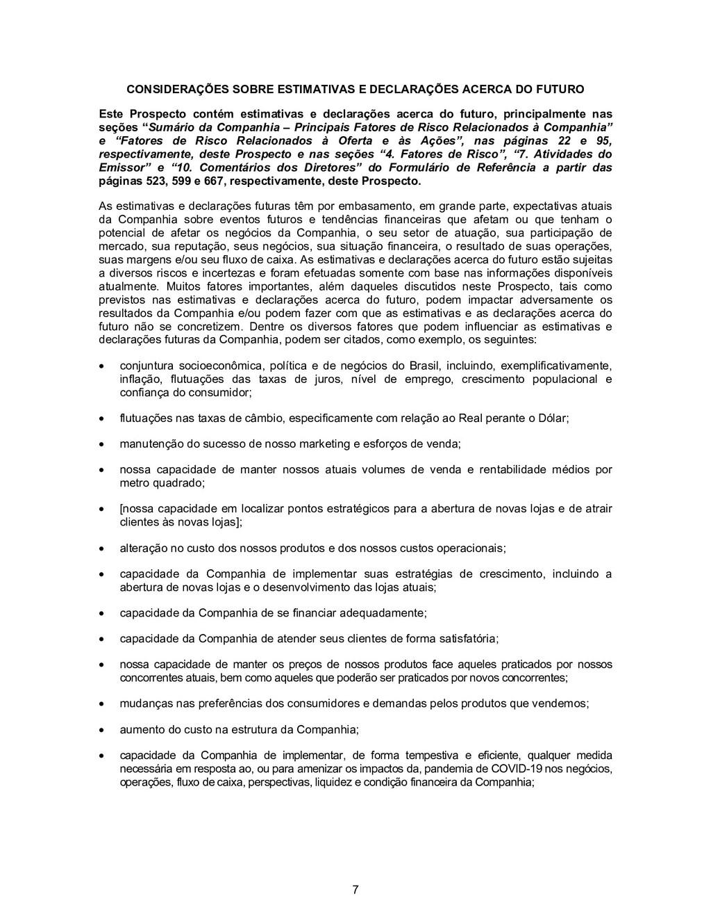 7 CONSIDERAÇÕES SOBRE ESTIMATIVAS E DECLARAÇÕES...