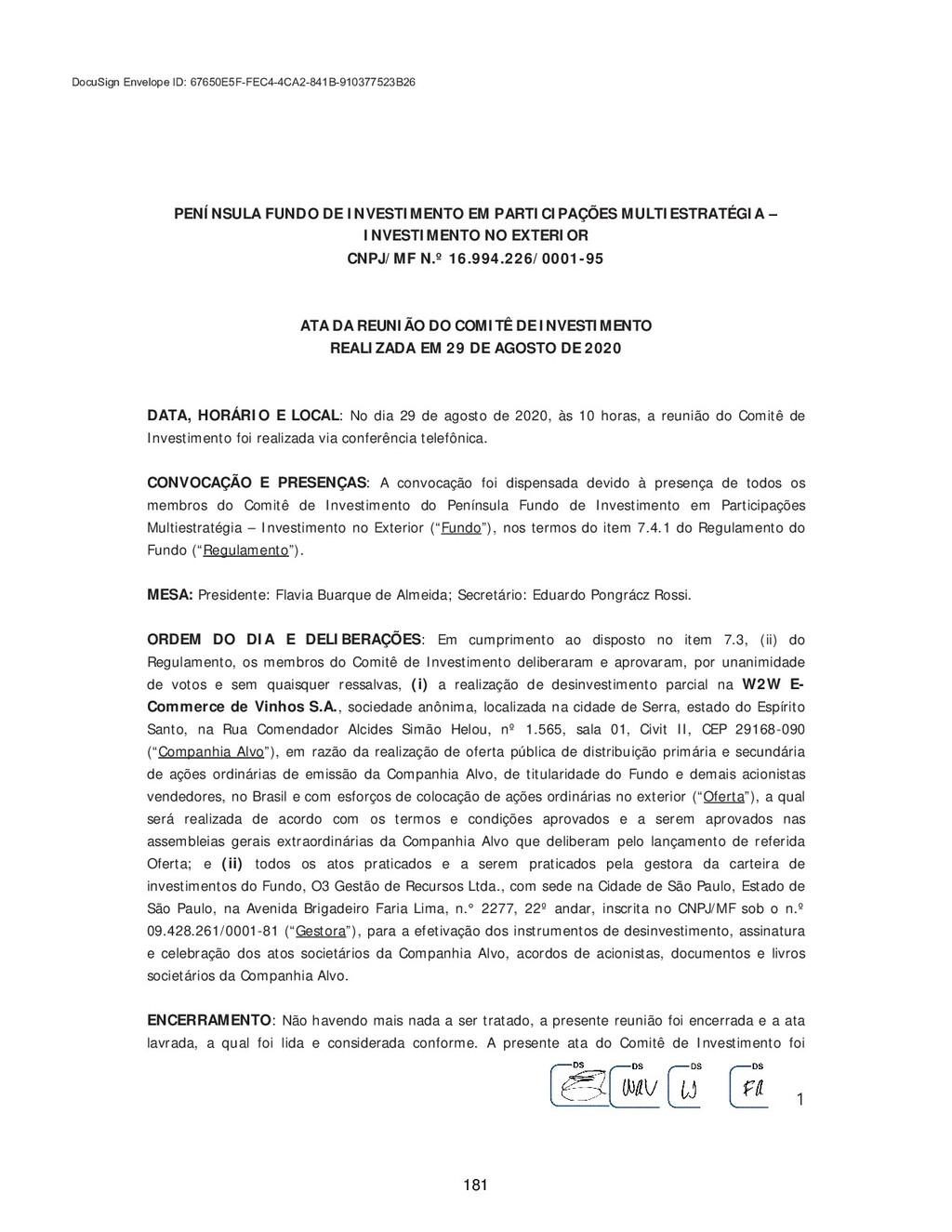PENÍNSULA FUNDO DE INVESTIMENTO EM PARTICI...