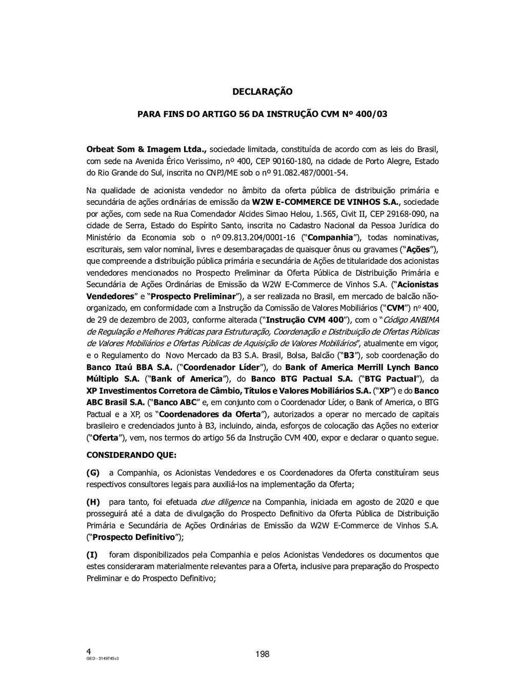 4 GED - 5149745v3 DECLARAÇÃO PARA FINS DO ARTIG...