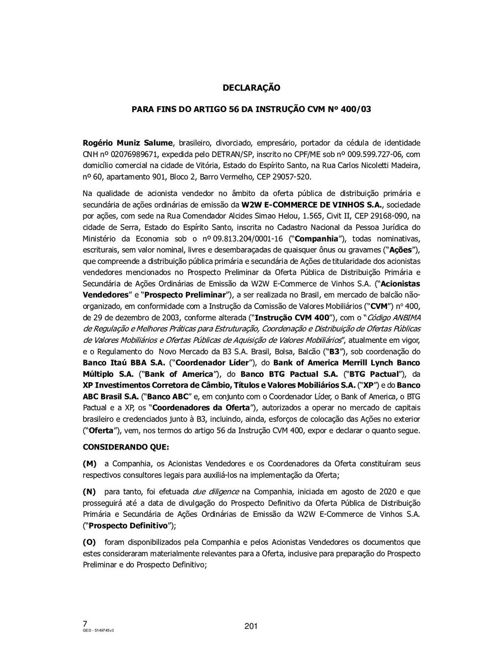 7 GED - 5149745v3 DECLARAÇÃO PARA FINS DO ARTIG...